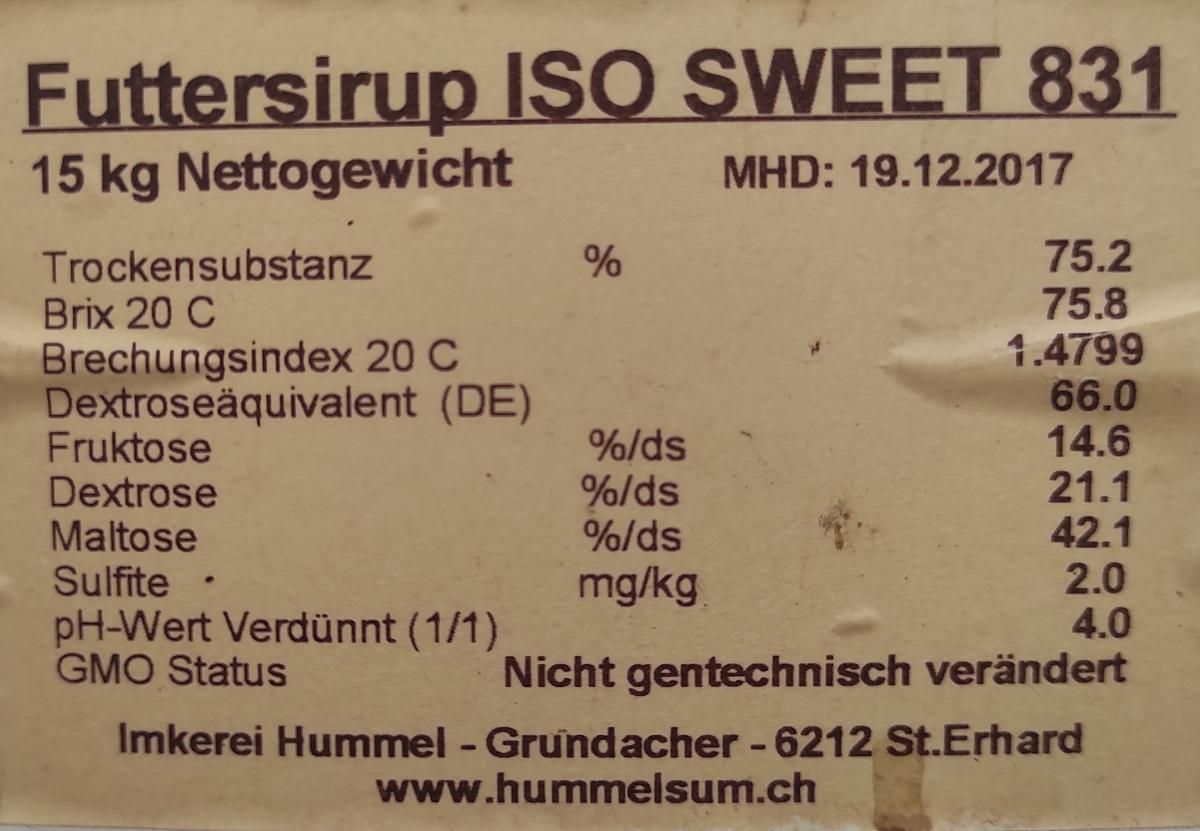 Futtersirup ISO SWEET 831: Zutaten & Info